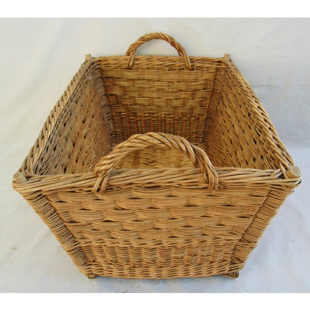 Early 1900s French Willow & Wicker Market Basket For Sale - Image 9 of 9
