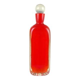 Fratelli Toso Murano Orange Iridescent Italian Art Glass Triangle Mid Century Decanter For Sale