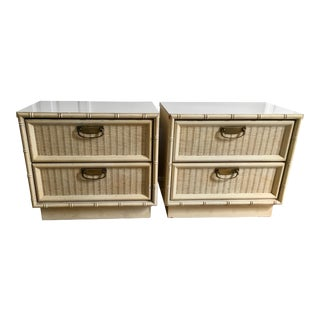 Vintage Faux Bamboo Wicker Nightstands - A Pair For Sale