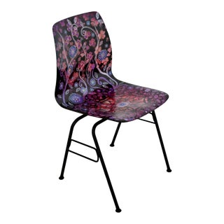Contemporary Modern Boho Chic Hand Painted Psychadelic Floral Shell Side Chair For Sale