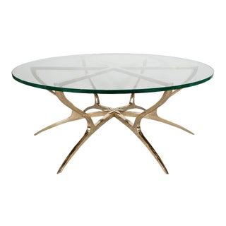 Italian Mid Century Modern Glass & Solid Brass Sculptural Center Table