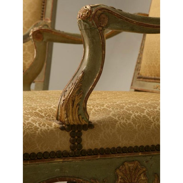 Mid 19th Century 100% Original Antique Italian Painted Louis XV Armchairs - A Pair For Sale - Image 5 of 11