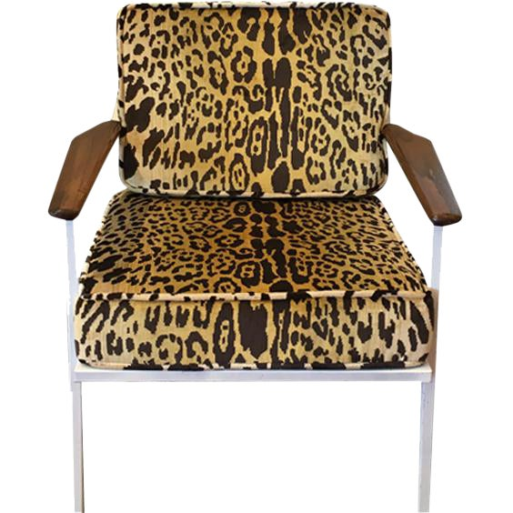 Scalamandre Leopard Upholstered Mid-Century Chair For Sale