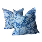 Image of Brunschwig and Fils Bird and Thistle Pillows - A Pair For Sale