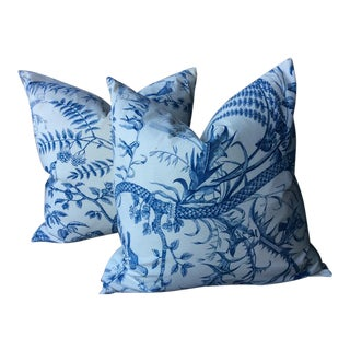 Brunschwig and Fils Bird and Thistle Pillows - A Pair For Sale