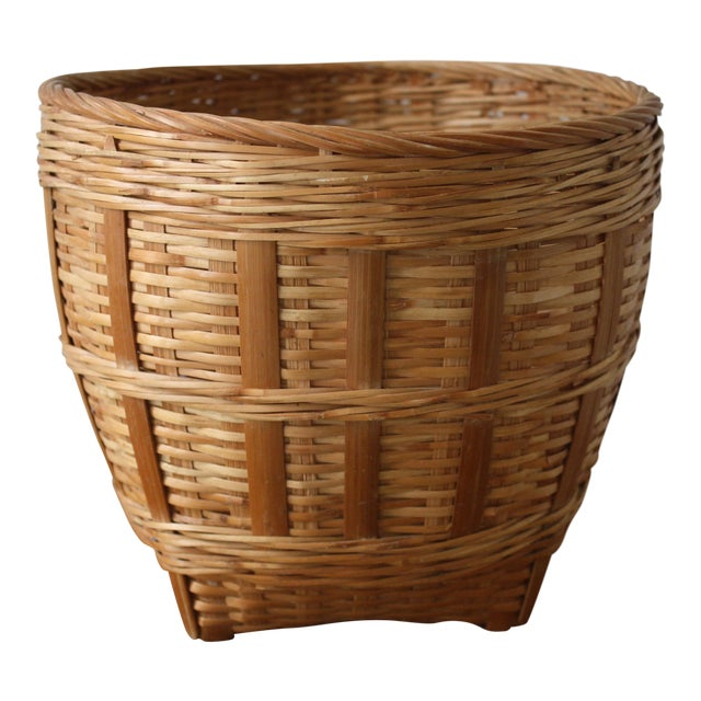 Vintage Woven Wicker Basket For Sale