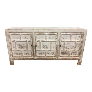 Boho Chic Distressed White 3 Door Buffet For Sale