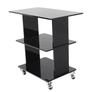 Smoked Lucite Rolling Cart Serving Table For Sale