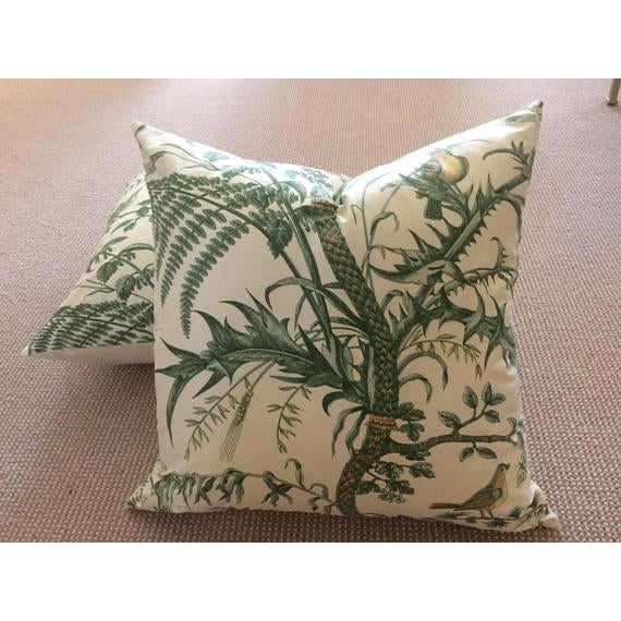 Brunschwig & Fils Bird and Thistle Green Pillow Covers - a Pair - Image 7 of 7