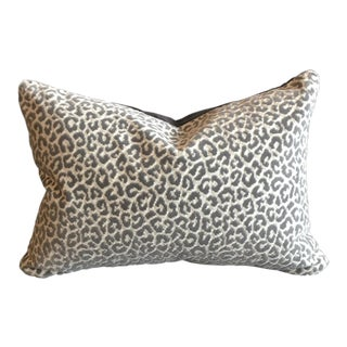 Scalamandre Epingle Animal Velvet Lumbar Pillow With Gray Velvet Backing For Sale