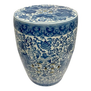 Blue and White Chinese Porcelain Garden Stool For Sale