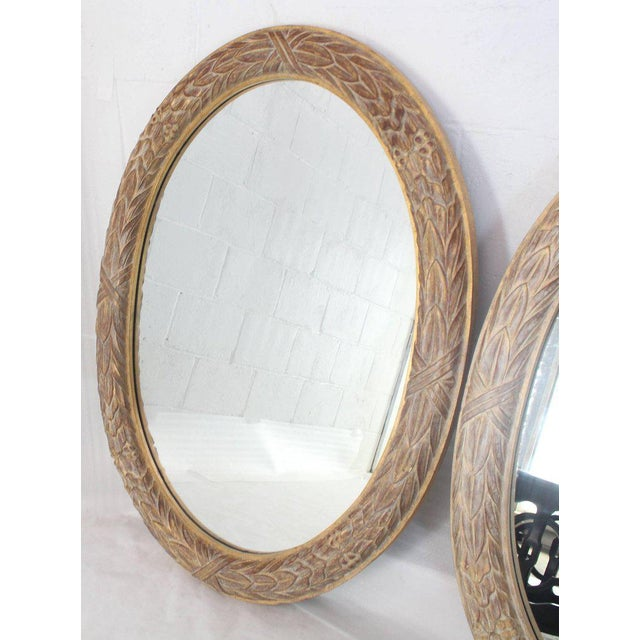 Pair of Medium Large Oval Gold Gild Leaf Pattern Frame Mirrors For Sale In New York - Image 6 of 6