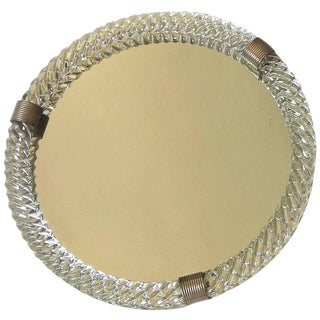 Large Venini Style Murano Round Twisted Glass Rope Vanity Tray For Sale