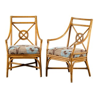 Pair Vintage McGuire Bamboo Target Design Chairs Circa 1970 For Sale
