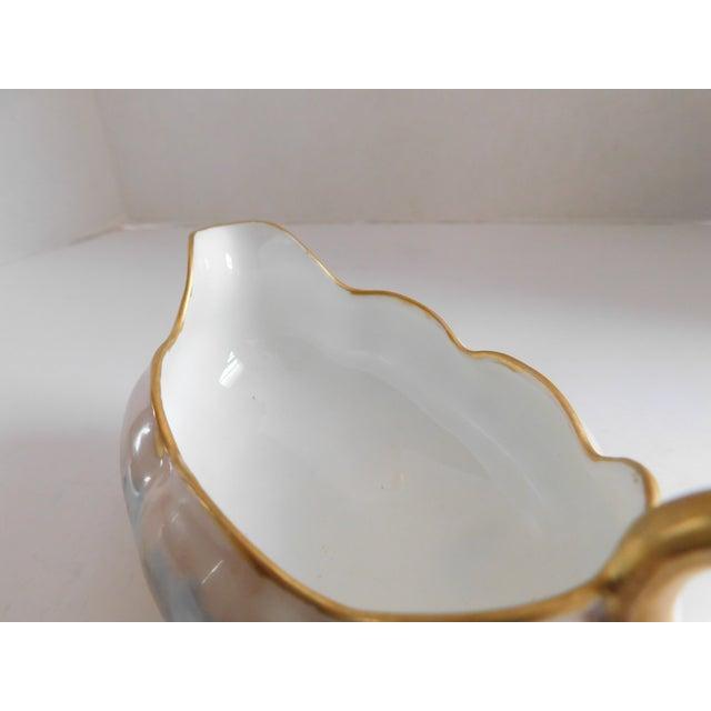 Blue Limoges Hand-Painted Porcelain Footed Creamer/Saucer For Sale - Image 8 of 11