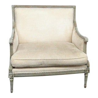 Early 20th Century Vintage Swedish Louis XVI Style Paint Decorated Marquis Chair For Sale