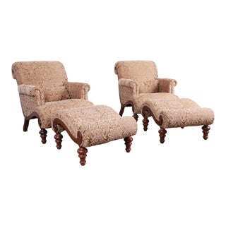 Drexel Heritage Upholstered Lounge Chairs and Ottomans - a Pair For Sale