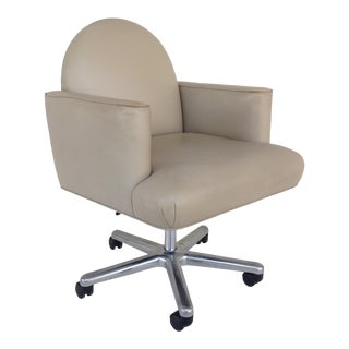 """C.1980s John Hutton for Donghia """"Luna"""" Executive Leather Business Chair For Sale"""
