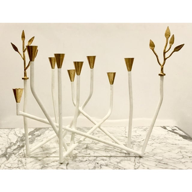 2010s Contemporary Arteriors White and Gold Daphne Candle Holder For Sale - Image 5 of 5