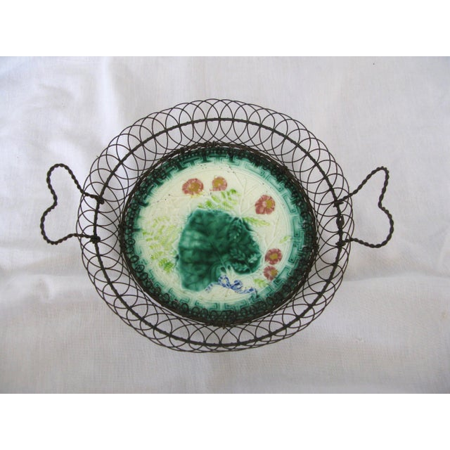 Late 19th Century Majolica Plate in Wire Basket, C.1880 French A-Pair For Sale - Image 5 of 6