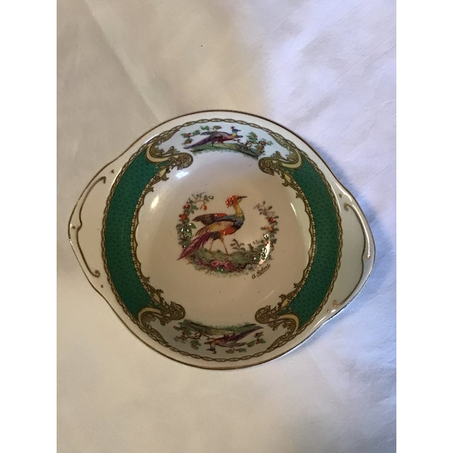 1930s Staffordshire Myott & Son Chelsea Bird Dish in Green For Sale In Raleigh - Image 6 of 6