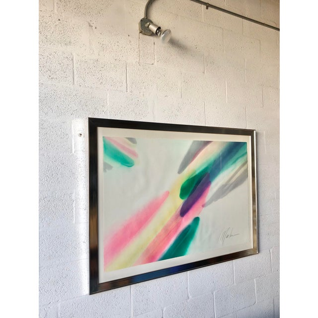 Vintage Mid Century Modern Framed Abstract Washed Acrylic Signed by the Artist. For Sale - Image 4 of 13
