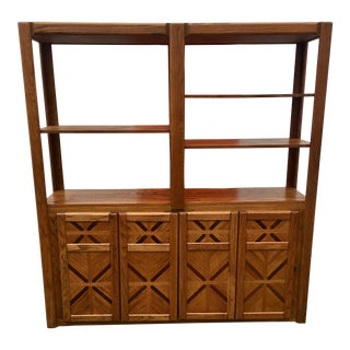 1980s Oak Wall Display or Room Divider Fold Out Bed For Sale