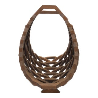 Mid-Century Wood Basket For Sale