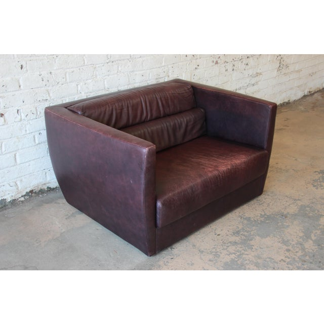 1970s Roche Bobois Bauhaus Style Leather Loveseat or Cube Chair, 1970s For Sale - Image 5 of 12