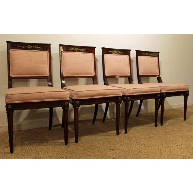 Set of 4 French Regency Mahogany Ormolu Carved Dining Chairs For Sale - Image 11 of 11