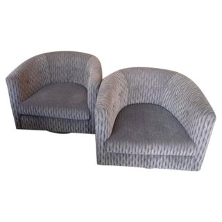 Gray Mid-Century Swivel Chairs - A Pair For Sale