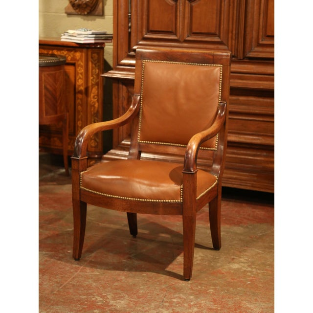 Animal Skin 19th Century French Directoire Carved Walnut Desk Armchair With Brown Leather For Sale - Image 7 of 9