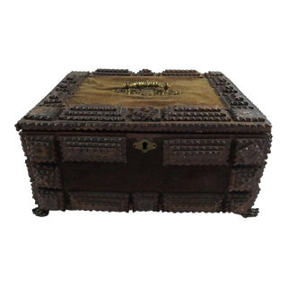 Antique Tramp Art Wood Box For Sale