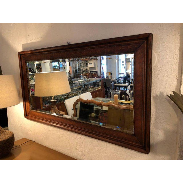 SOLD-Large Antique Oak Beveled Mirror For Sale In New York - Image 6 of 13