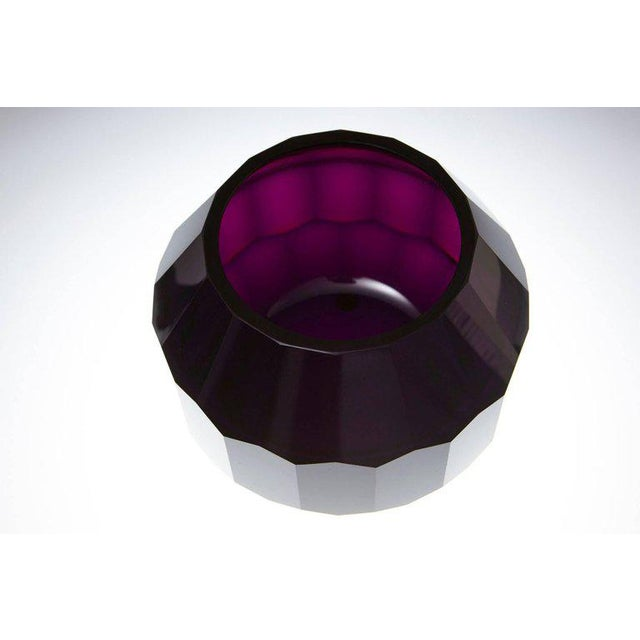 Josef Hoffmann Dark Violet Hand Cut Crystal Vase Attributed to Josef Hoffmann for Moser & Söhne For Sale - Image 4 of 9