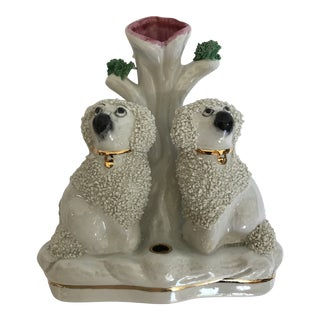 Staffordshire Poodle Dog Ink and Quill Holder Spill Vase For Sale