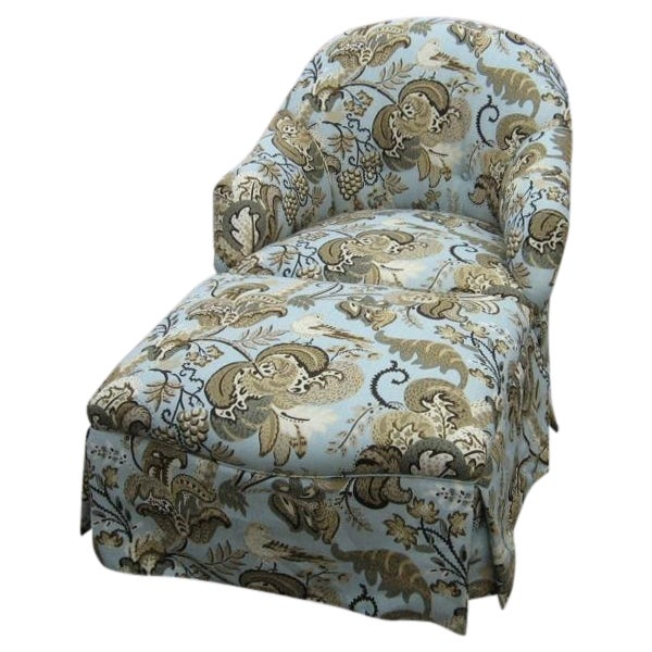 Chair & Ottoman in Schumacher Clarendon Fabric - Image 1 of 6