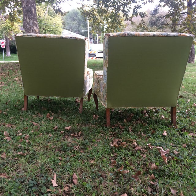 Vintage Winged Slipped Chairs in Floral - Pair - Image 4 of 9