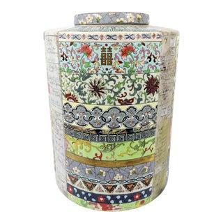 Fabienne Jouvin Double Happiness Cylindrical Porcelain Ginger Jar or Storage Urn, Paris France For Sale