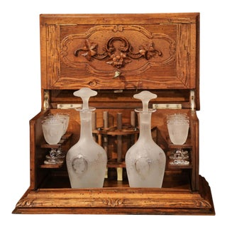 19th Century French Black Forest Carved Walnut Cave a Liqueur With Cigar Holders For Sale