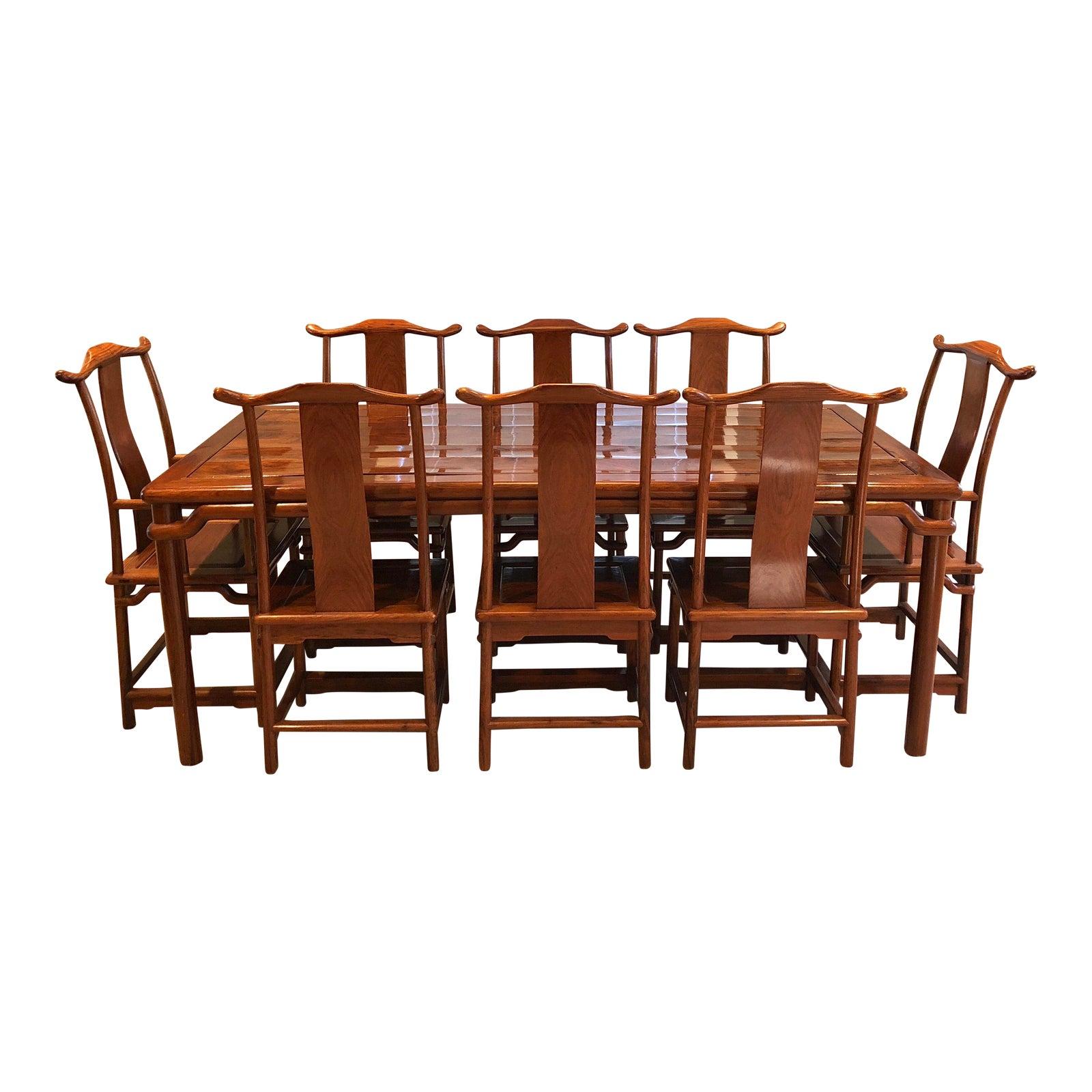 Chinese huanghuali rosewood dining set set of 9 chairish