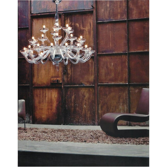 Glass Large Italian Mid-Century Modern 30 Arm Clear Murano / Venetian Glass Chandelier For Sale - Image 7 of 7