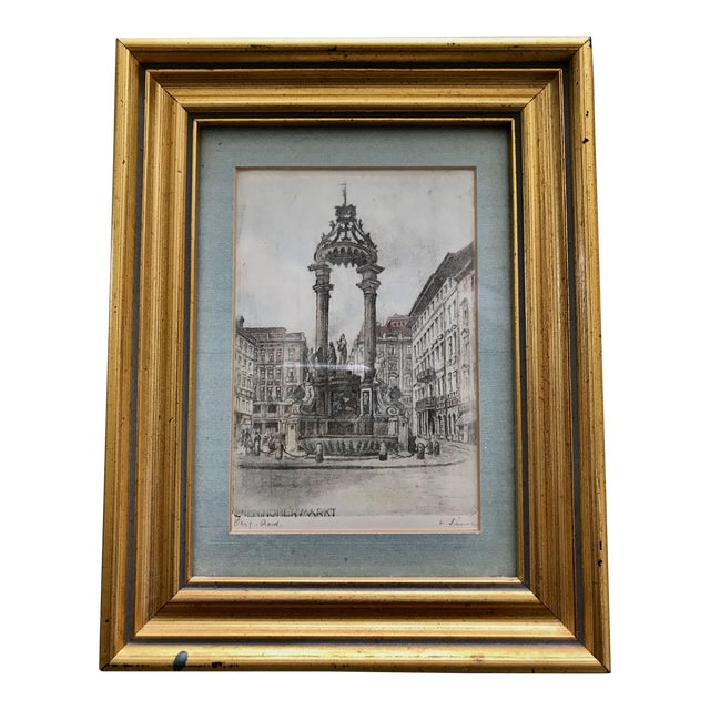 Signed European Hand Tinted Engraving For Sale