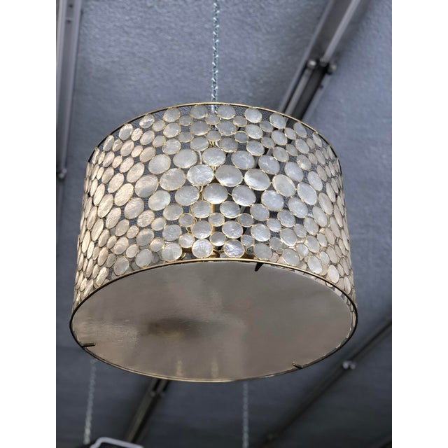 Mid-Century Modern Style Capíz Shell Chandelier For Sale In Los Angeles - Image 6 of 8