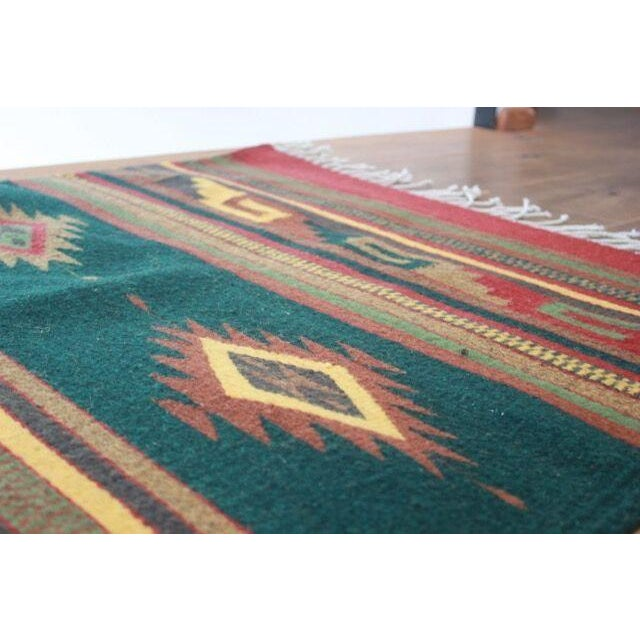 Mexican Pedal-Loom Green Rug - 2′7″ × 4′10″ For Sale - Image 4 of 6