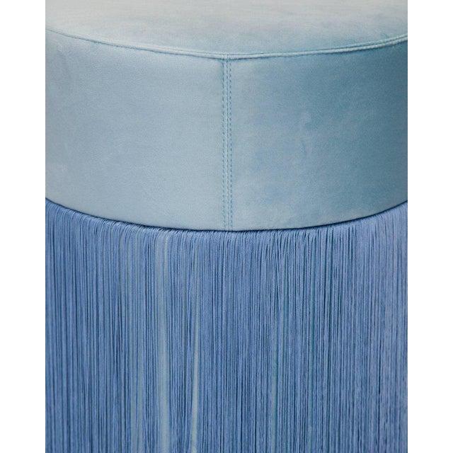 Art Deco Pouf Pill Large Light Blue in Velvet Upholstery With Fringes For Sale - Image 3 of 6