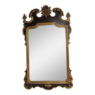 Hollywood Regency Large Gilt Wood Italian Carved Wall Mirror.
