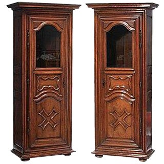 Pair of 18th Century Louis XVI Walnut Bonnetieres Armoires For Sale