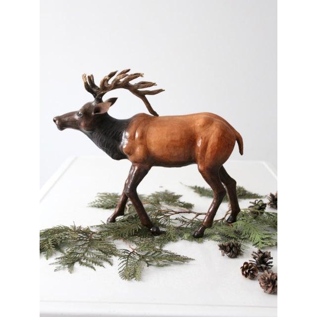 Leather Vintage Leather Reindeer Sculpture For Sale - Image 7 of 10