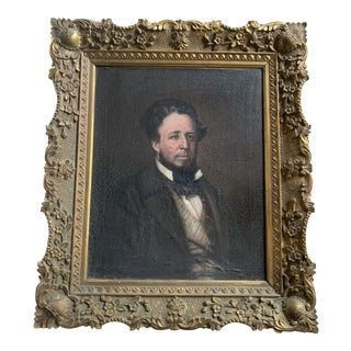 19th C. Framed Oil on Canvas Portrait For Sale